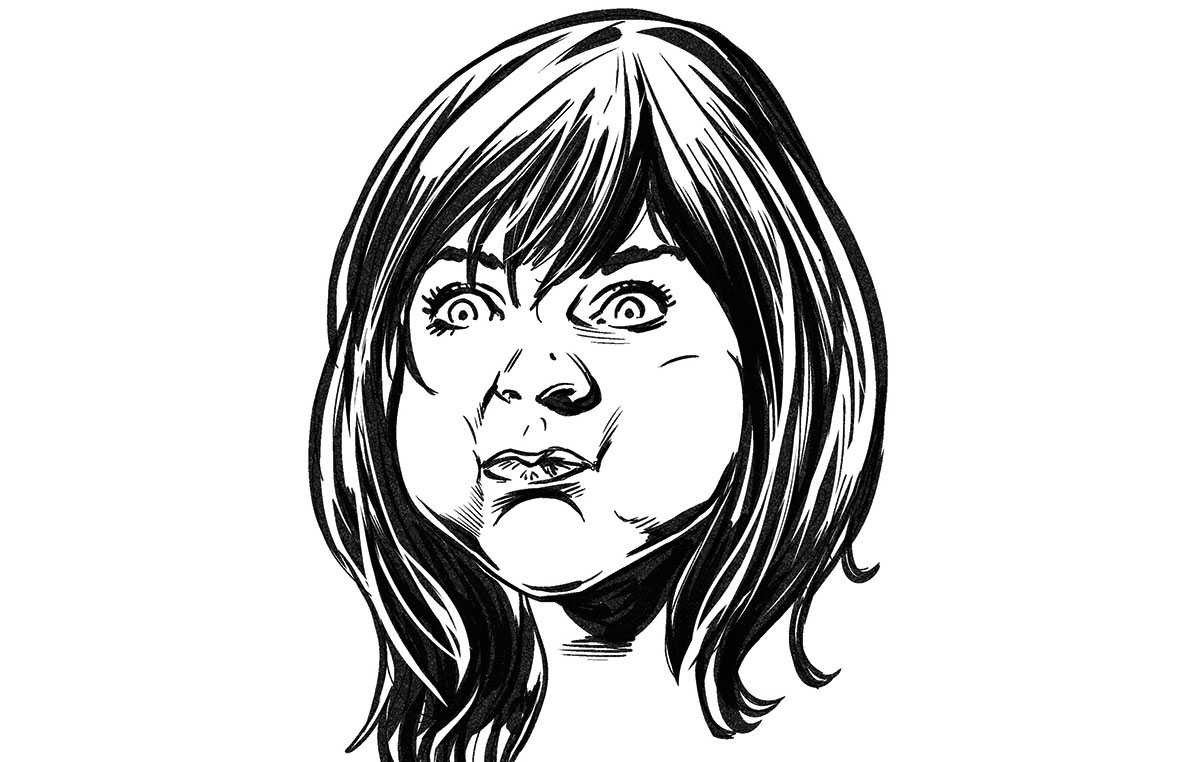 Drawing of a woman with her cheeks puffed up