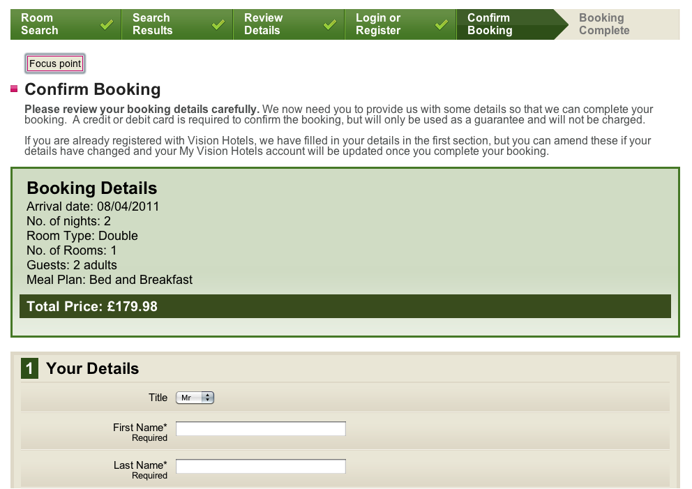Booking form for Vision Hotels