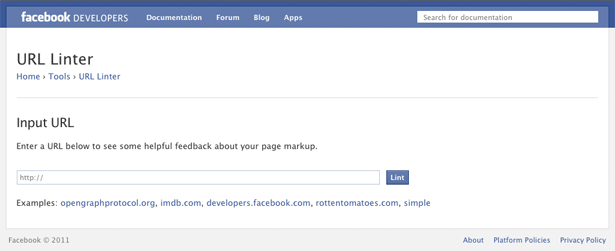 Facebooks URL Linter is a dab hand at debugging your meta data