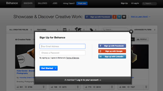 Behance profile: step 1