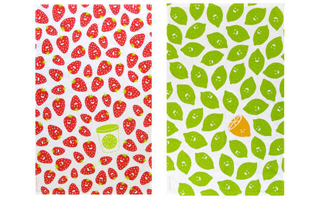 Sweet Strawberries, Sour Cream tea towel, and Lovely Limes, Bitter Lemon tea towel, both £10