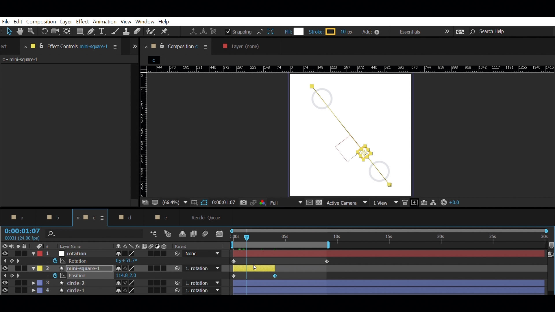 Create a seamless repeat animation in After Effects - Add a square