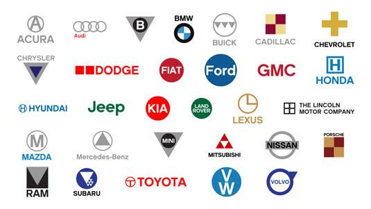 Simplified car logos