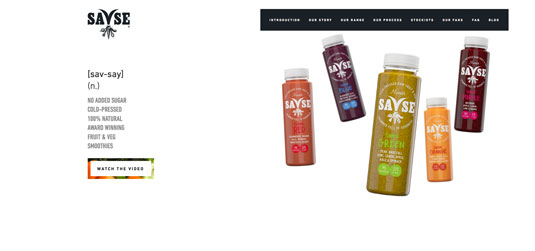 Example of parallax scrolling websites: Savse Smoothies