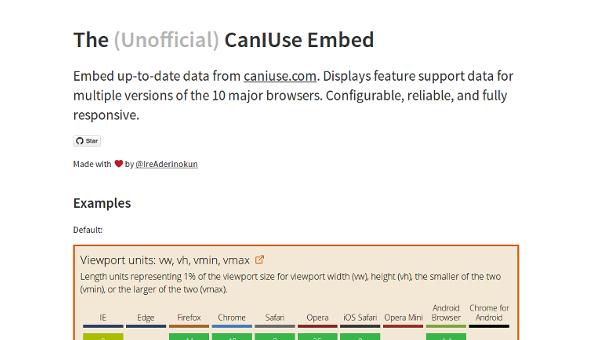 web design tools: caniuse