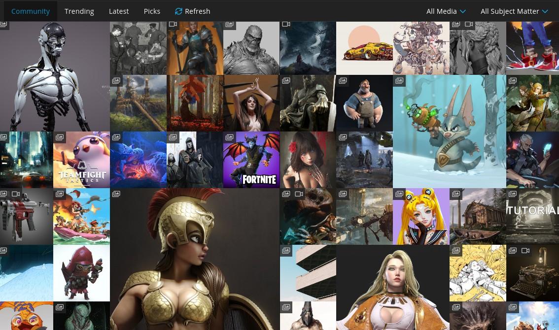 Social media platforms: Homepage of Artstation