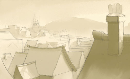 How to paint atmospheric rooftops in ArtRage