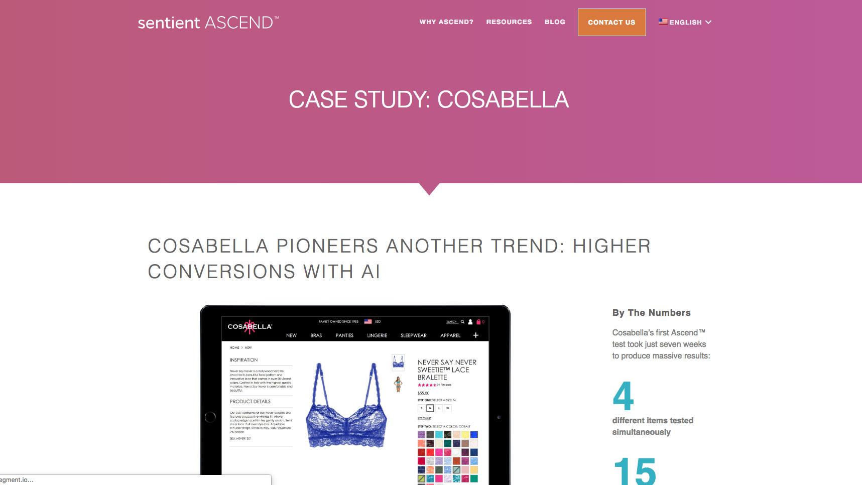 Cosabella case study landing page