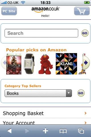 iPhone web design: Amazon