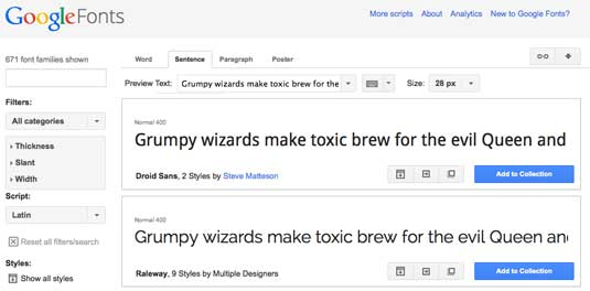 Google Fonts screengrab