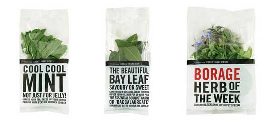 minimal packaging design: Waitrose Herbs