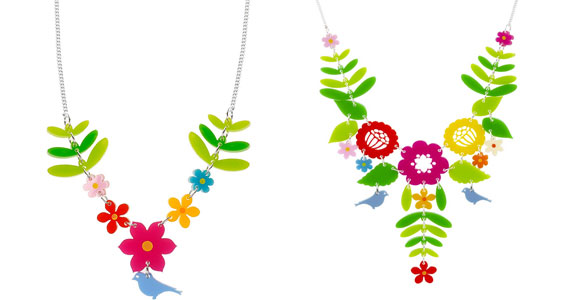 Flower Garden necklace, £50, and Mexican Embroidery necklace, £85