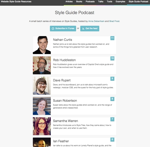 Web design podcasts: Style Guides