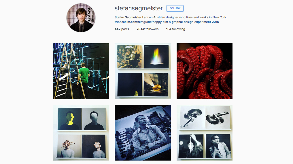 Graphic designers to follow on Instagram: Stefan Sagmeister