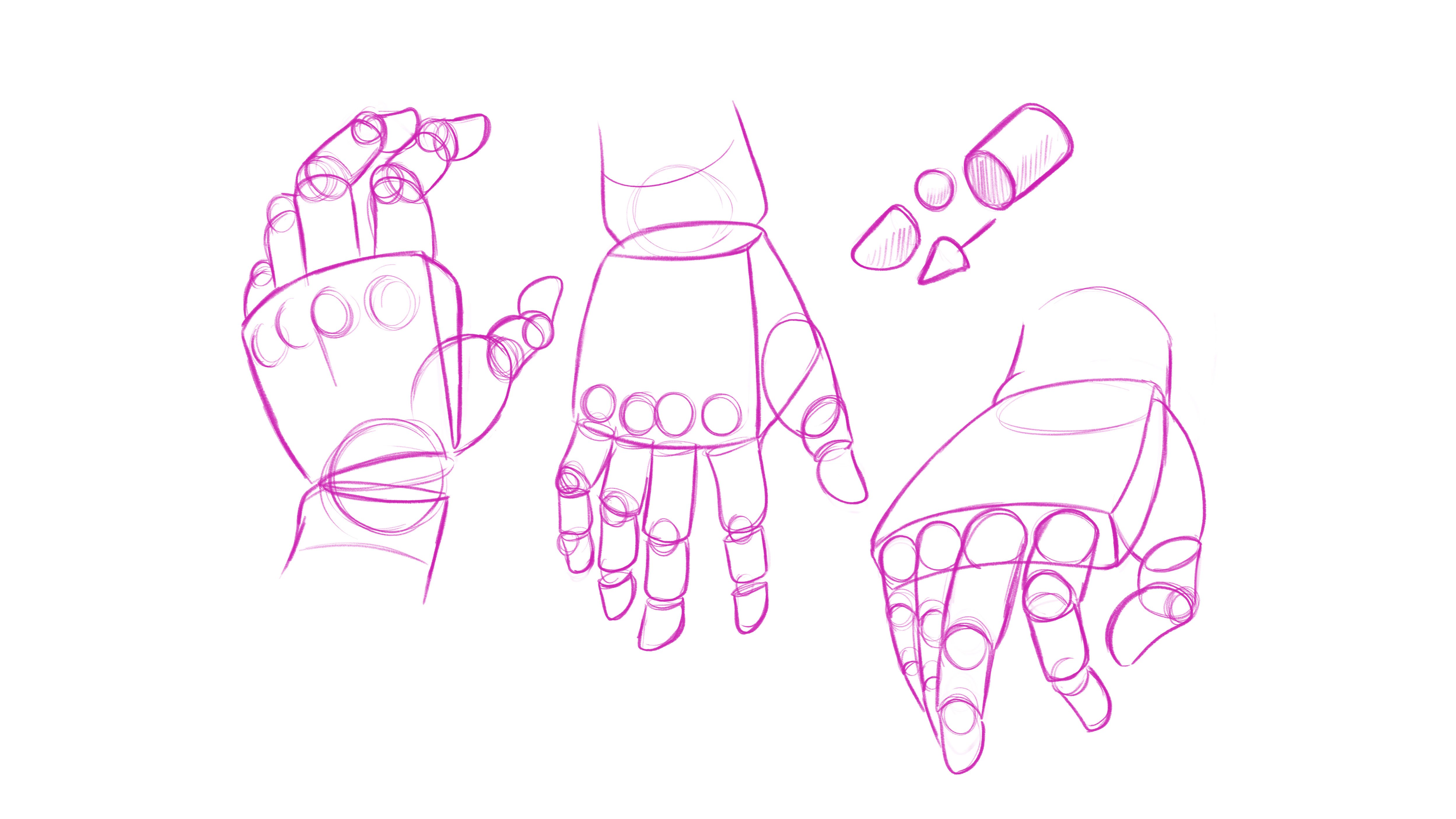 How to draw hands: pose the shapes