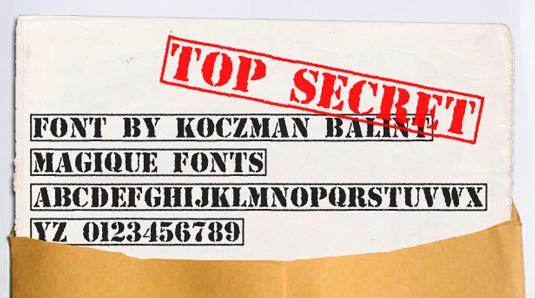 free stencil font: Top Secret