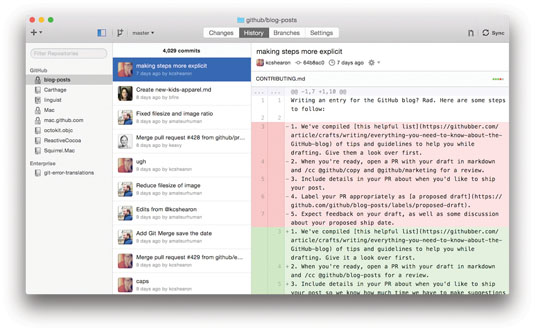 Apps like GitHub for Mac enable you to easily make changes to specific lines of a file