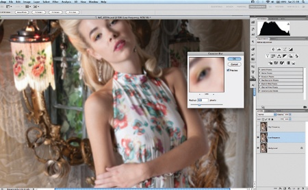 Retouch images with frequency separation: step 1