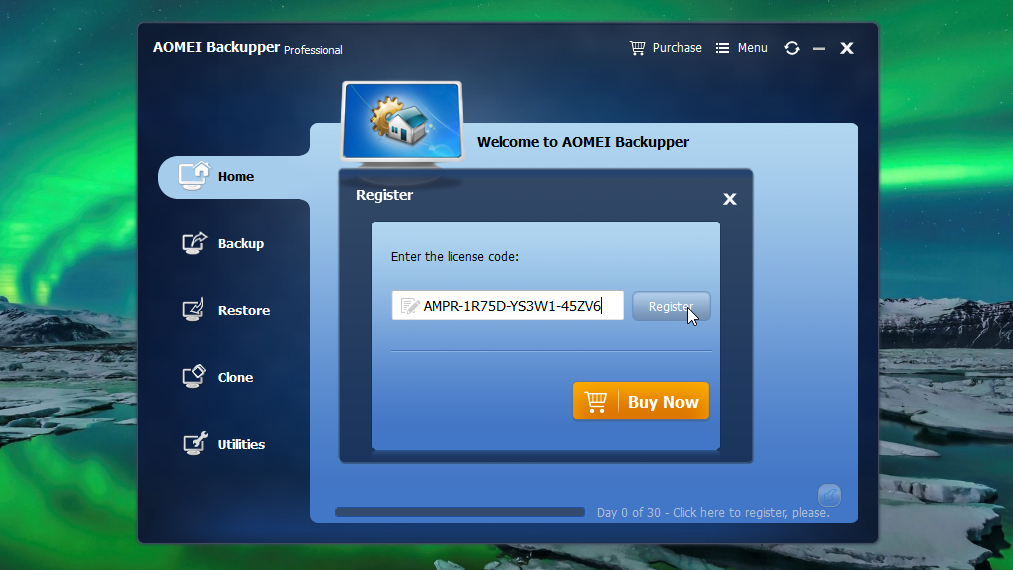 Registering AOMEI Backupper Pro