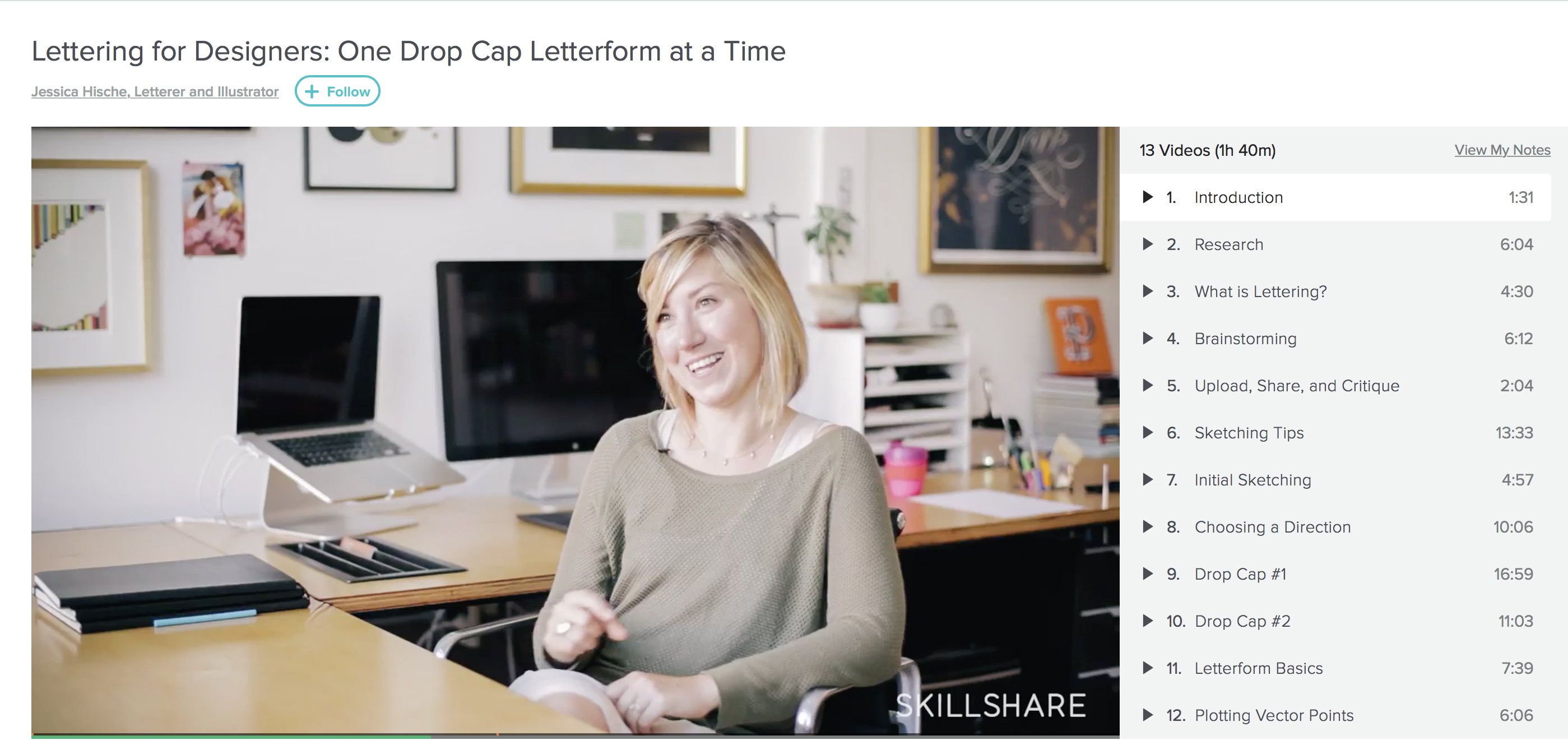 Jessica Hische's Skillshare course on lettering for designers