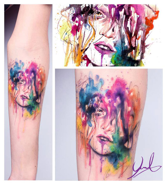 13 incredible examples of watercolor tattoo art: Candelaria Carballo