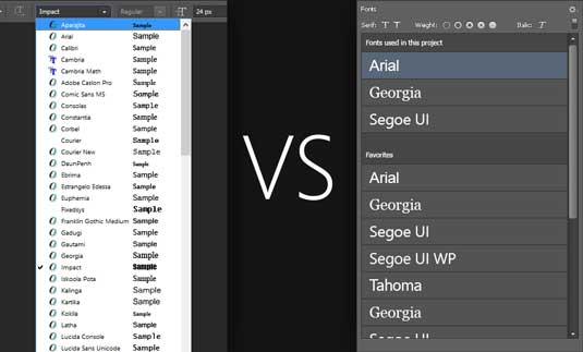 Font menu concept
