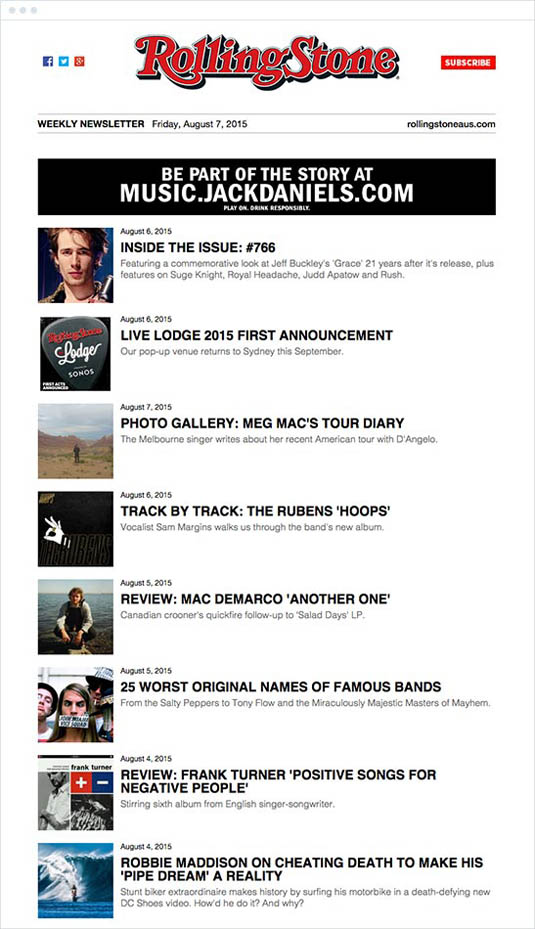 email newsletter designs: Rolling Stone