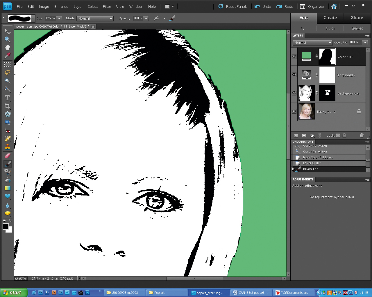 How to color your art in photoshop - Choose A Green From The Colour Palette To Tidy The Edges Use The Brush Tool Press B To Paint Over Your Layer Mask To Reveal Detail Beneath