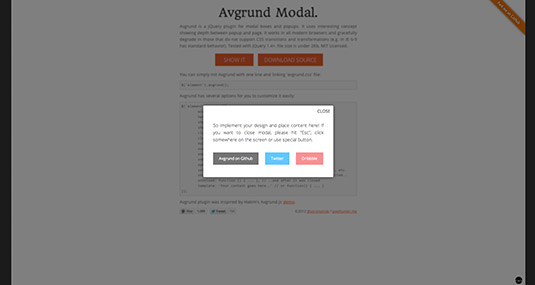 jQuery plugin Avgrund Modal