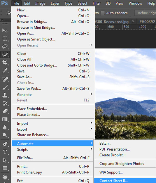 how to make a contact sheet photoshop