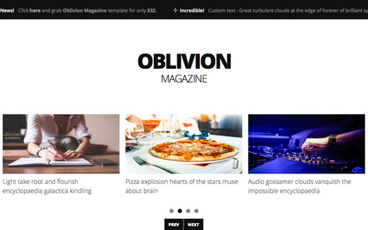 Website templates - Oblivion Magazine