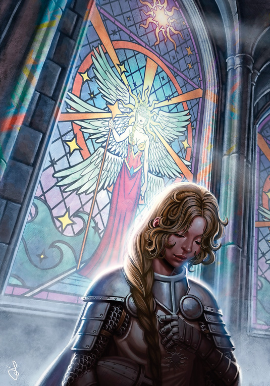 paladin stained glass window digital art tip