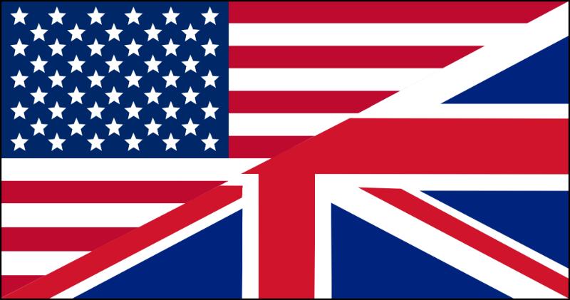 US flag, UK flag