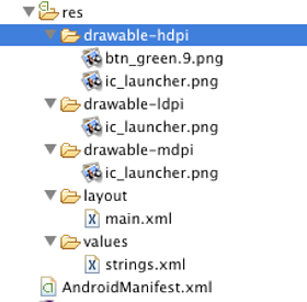 Android's resource folders let you include assets for various device profiles