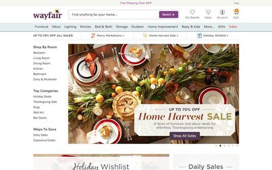 Wayfair homepage