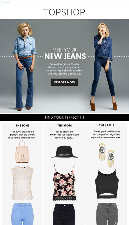 email newsletter designs: TopShop