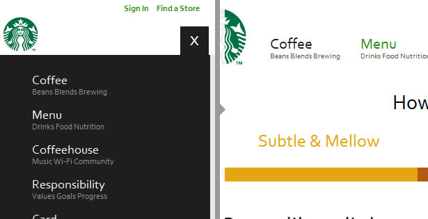 Responsive navigation in action: the Starbucks website.