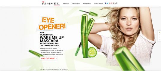 Example of parallax scrolling websites: Rimmel London