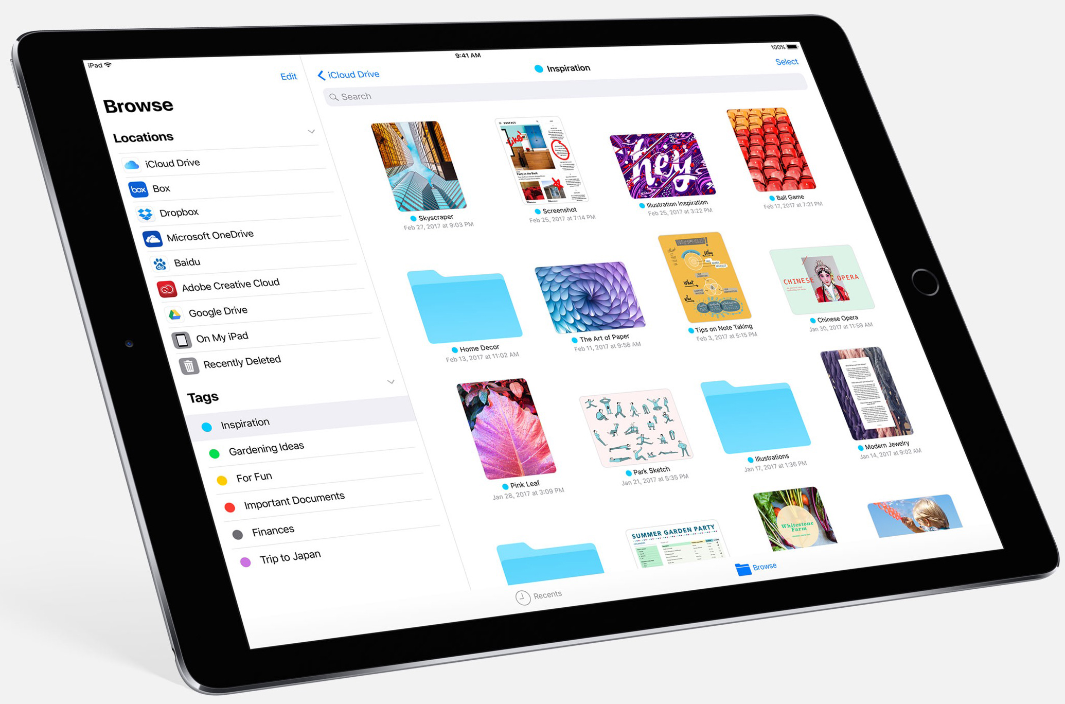 Apple Files not only has recent files from your iPad, but on other iOS  devices, in iCloud Drive and from other services, including Box, Google  Drive and ...