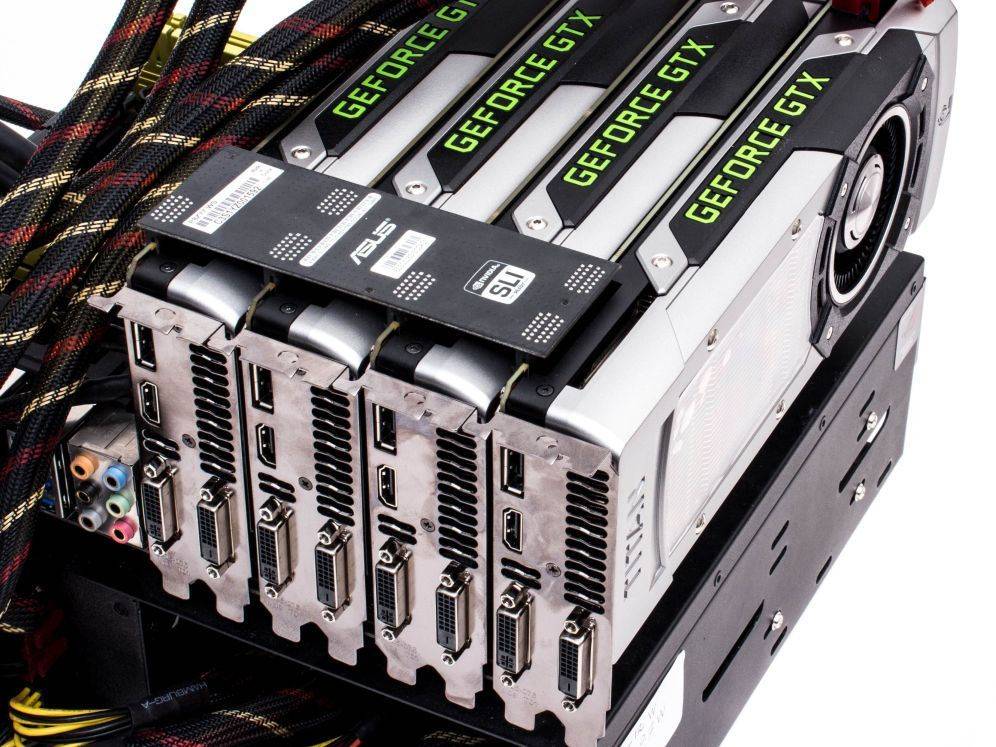 check out what happens when you put four top-of-the-range nvidia graphics cards in sli