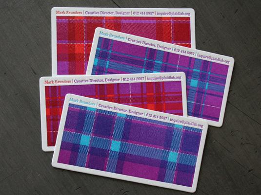 Letterpress business cards: The Plaid Lab