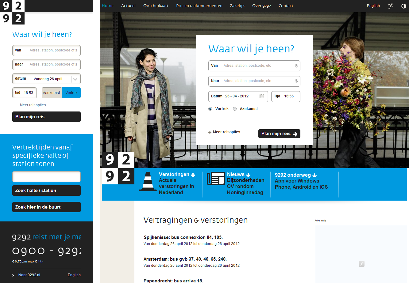 9292.nl: good for pre-planning journeys; less good for finding updates en route