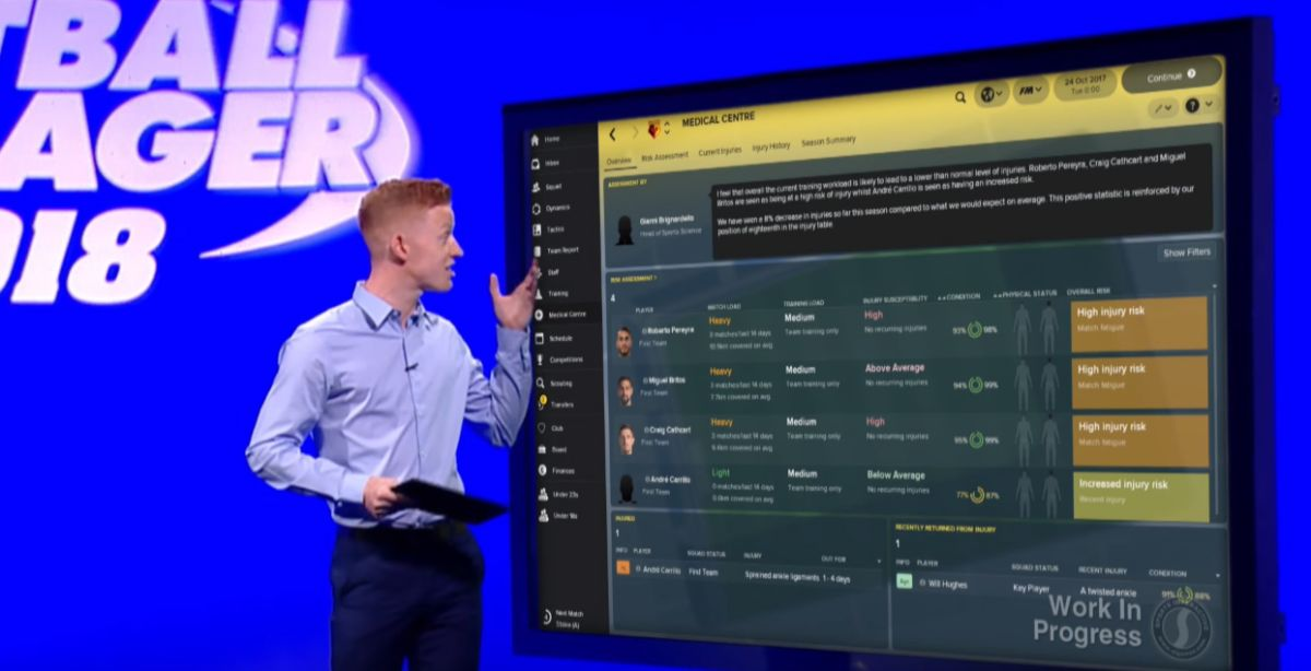 Football Manager 2018's Medical Centre is the best thing to happen to injured players