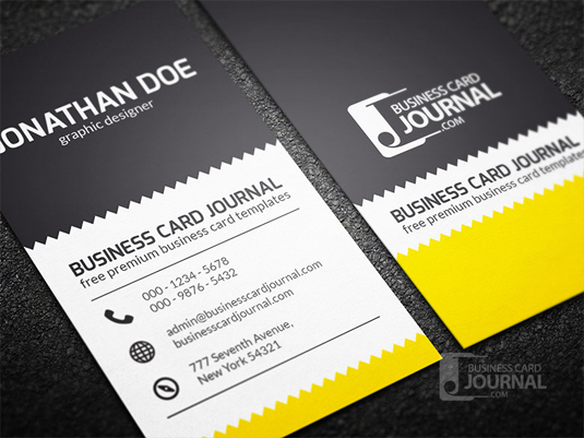 80 best free business card psd templates an exquisite design featuring zigzag pattern as the main focal point of this creative business card template the combination of black white and a touch wajeb Choice Image