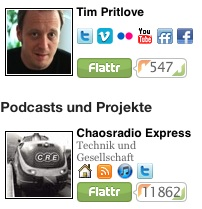 Tim Pritlove has done podcasts since 2005, today he gets about 2000 euros a month from Flattr buttons