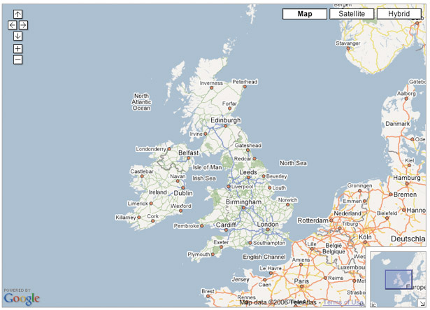 Google Maps API: Basic UK map