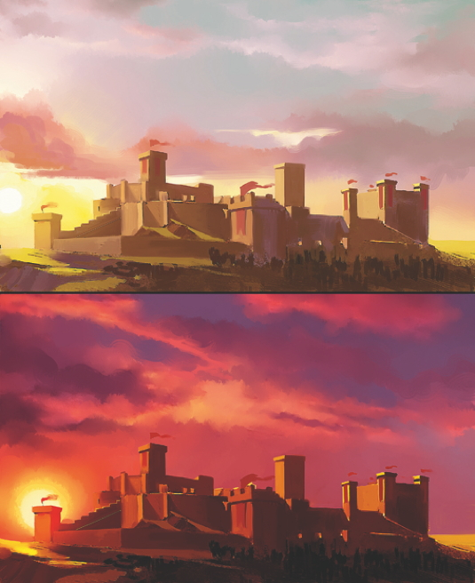 Painting the subtle differences between sunset and sunrise