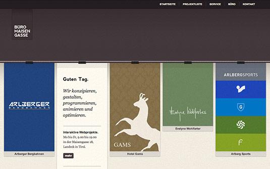 Sliders in web design: Büro Maisengasse