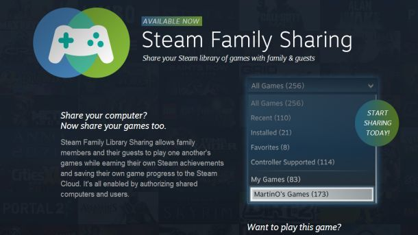 how to add a user to family sharing on steam