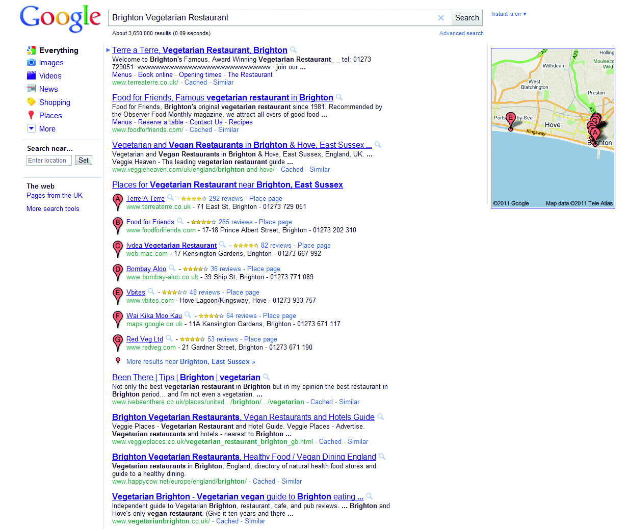 The highlighting of Places in Google's listings has revolutionised local search